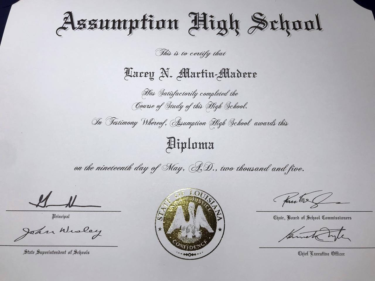 Replica high school diploma